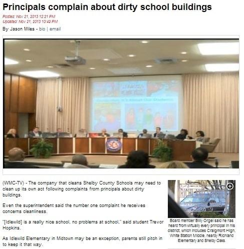 Principal complains about dirty school buildings