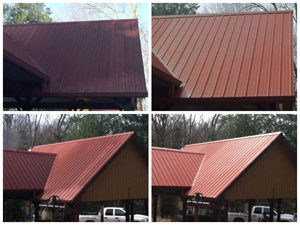 Red metal roof before and after - Stain Free Roof